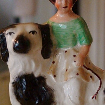 Staffordshire Girl Riding Dog Figurine Antique English