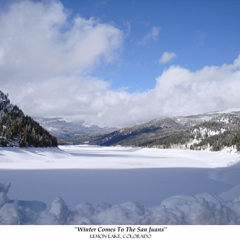 TWO WINTER VIEWS OF LEMON LAKE near DURANGO, COLORADO <> 2012 & 2013