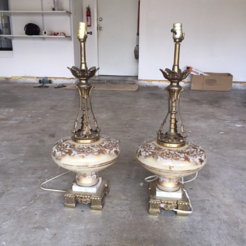 Glass w/marble base lamps - Lamps