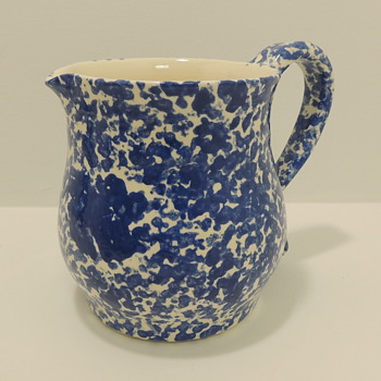 Blue & White Sponge Wear - Pitcher - Art Pottery
