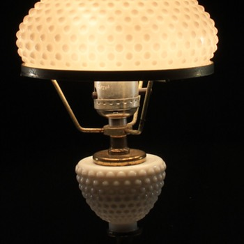 White Hobnail Lamp