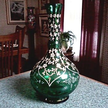 Raised Enamel and Gilt Green Bottle Vase / Unknown Maker and Age - Art Glass