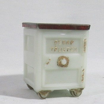 Milk Glass Safe Bank