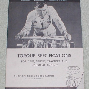 1952 Snap-On Service Tools Torque Specs Manual - Tools and Hardware