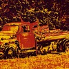 Posterized photos of abandoned flatbed pickup