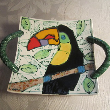 Colorful Art Pottery Parrot Bowl/Dish ...Hanging Wall Art...... - Art Pottery