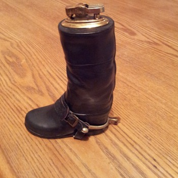 Cigarette Lighter in the form of a Ceramic Black Riding Boot - Tobacciana