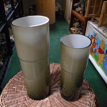 Scandanavian? Empoli? Cased Glass Vases Smoky Gray Help Identify