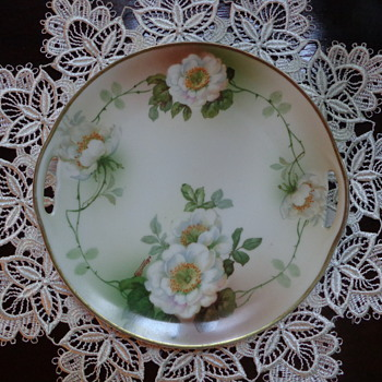 "Signed ""Mauvilles"" Plate with White Peony by Schoenwald PSAG Bavaria"