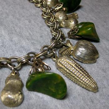 1950's garden charm bracelet - Costume Jewelry