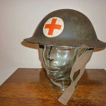 British WWII Civil Defence Medic steel helmet - Military and Wartime