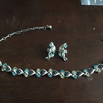 Silver necklace & earrings with blue stones