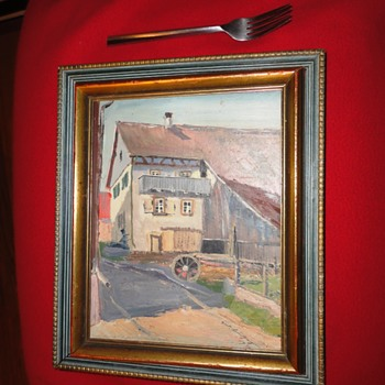 Farm Scene Oil on Board dated 1936 - Visual Art