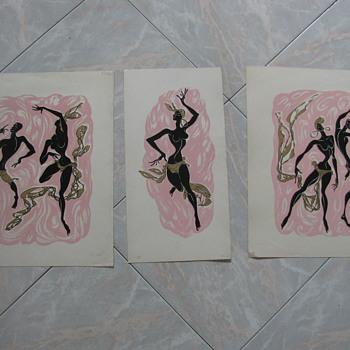 3 Billy Snel mid century Black American Dancers fine art prints
