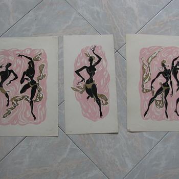 3 Billy Snel mid century Black American Dancers fine art prints  - Mid-Century Modern
