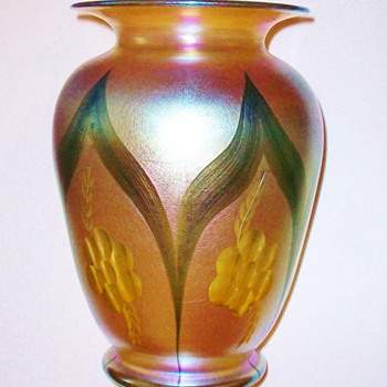 Rare Durand Gold Lustre Cut and Decorated Vase c.1925 - Art Glass