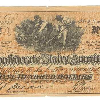 Confederate States of America 100 dollars and 5 dollars - US Paper Money