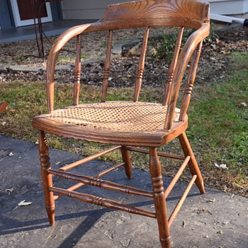 Antique Wooden Oak Chair w/ Round back and Cane seat