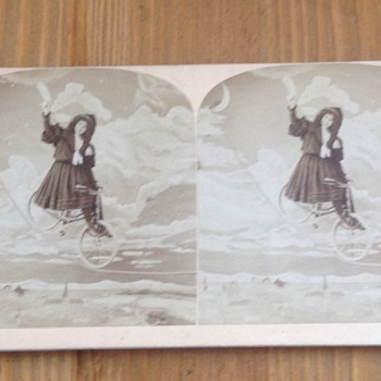 Stereoview Woman on Bicycle Rides on Tight Rope Circus Act??