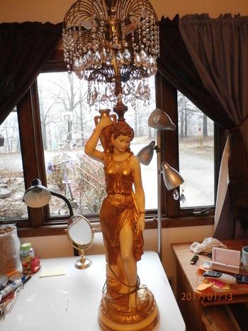 Antique Greek Goddess Grecian Lady Crystal Chandelier