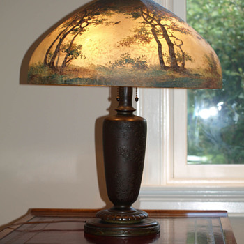 HANDEL Reverse Painted Lamp - in family for 3 generations -  what is it worth?? - Lamps
