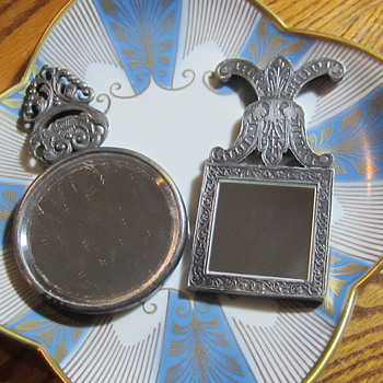 Renaissance Themed Handheld Ornate Purse Mirrors. Damask Silver Tone