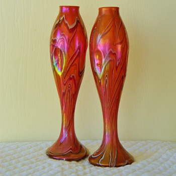 "Happy Valentines Pair of Harrach? Rindskopf? 12"" Iridescent Vases - Art Glass"