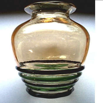 """Still more Iridescence ! / 5"""" Vase with Glass Bands / Unknown Maker and Age - Art Glass"""
