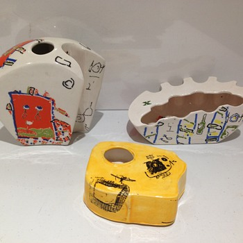 Retro 1950's vases/ashtrays? Italian? Conran? Designer? Trial pieces?