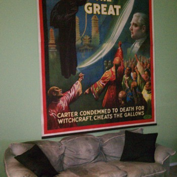 Original 1926 Carter The Great &quot;cheats the gallows&quot; Stone Lithograph Poster