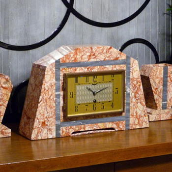 UCRA Clock with Garnitures 1930's - Art Deco