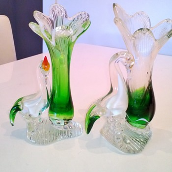 Glass swan vases