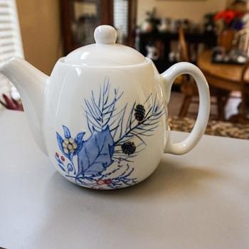 White & Blue Tea Pot - Pottery