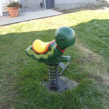 old playground spring ride turtle