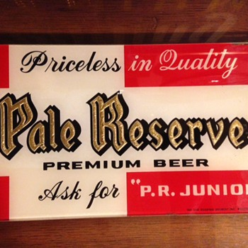 Pale Reserve Beer Reverse-Painted Glass Sign - Breweriana