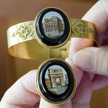 MICRO MOSAIC BRACELET/PIN SET ROMAN RUINS 14K \YELLOW GOLD - Fine Jewelry