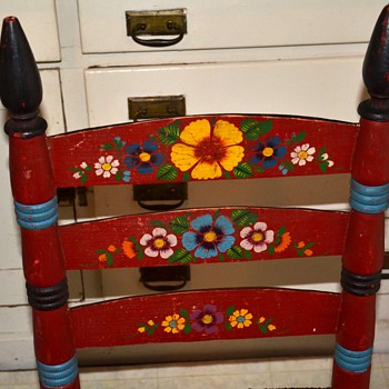 Vintage Mexican Painted Chair with label - Furniture