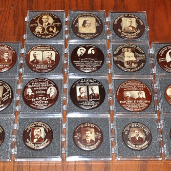 Sephia toned real photo merchant pocket mirrors from Nebraska & Iowa - Advertising