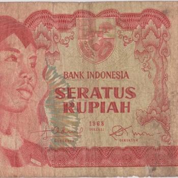 indonesia banknote 100 rupiah 1968