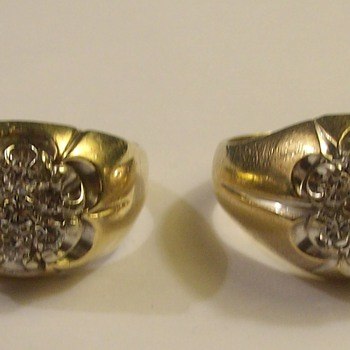 "Identical ""Pair"" Of Men's Diamond Cluster Rings From The 1960's - Fine Jewelry"