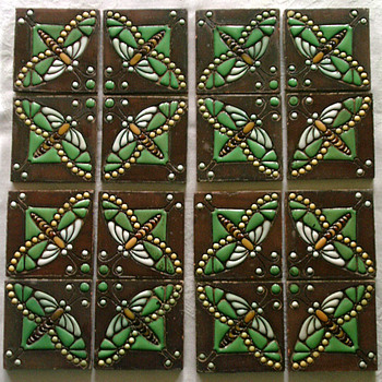 A rare group of 16x Carduus Dragonfly Tiles by Jan Eisenloeffel for Distel - Art Pottery