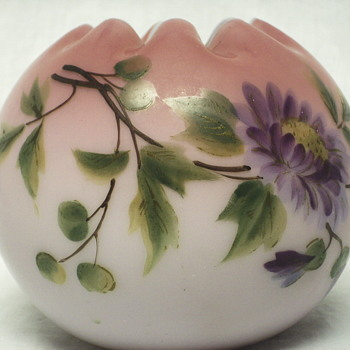 "Rose Bowl,hand painted Enamel Leaf &Flowers""XX Century"