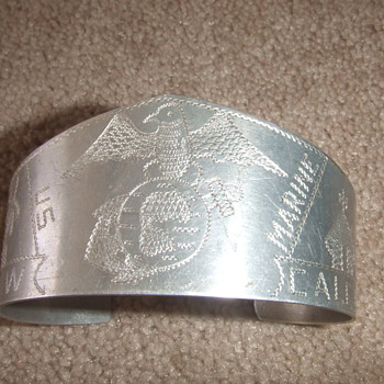 Trench Art USMC bracelet - Military and Wartime