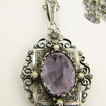 Antique Victorian Amethyst Seed Pearl Mourning Locket Sterling Necklace