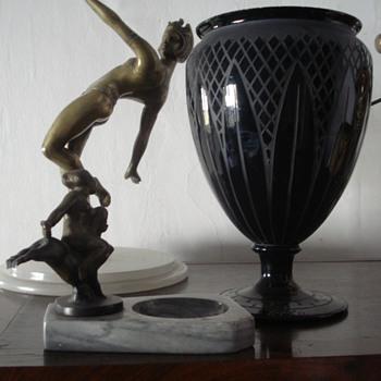 Basalt glass art deco vase signed Celta