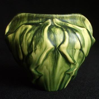 1899 Eugène Baudin Drip Glazed Leaf Form Ceramic Vase - Art Nouveau