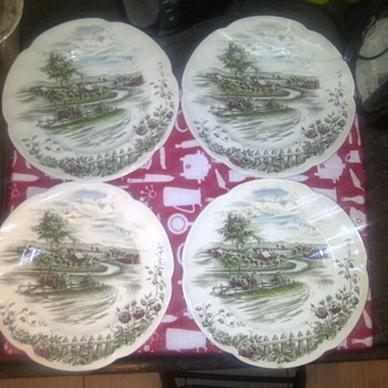 """The Road Home"" 4 Dinner Plates. by: Johnson Bros. Made in england."