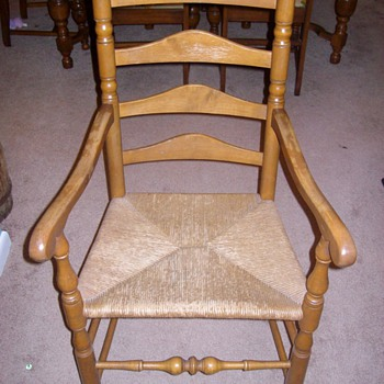 "Set of maple chairs with ""basket weave"" type seat"