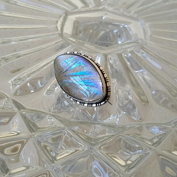 Small Butterfly Wing Silver Brooch + little glass elephant Market Finds!!!