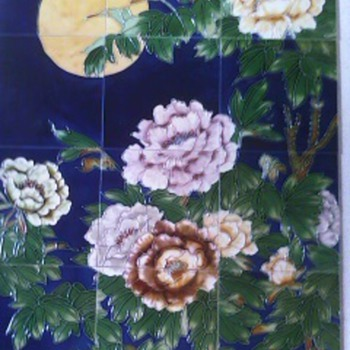Art Tile Mural Of Peonies With Moon - Art Pottery